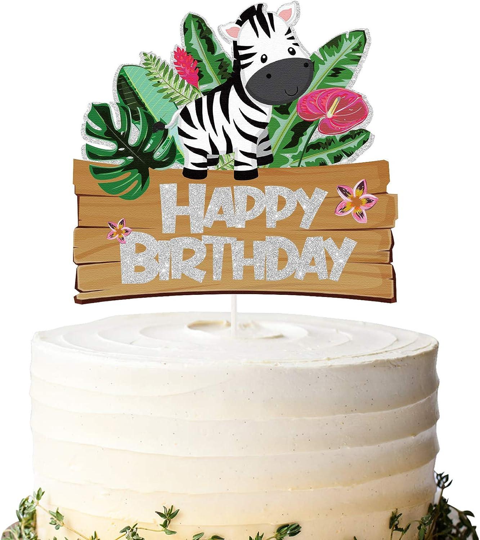 Glitter Zebra Happy Birthday Cake Topper, Baby Zebra Birthday Cake Decor, Safari Themed Birthday Party Supplies, Zoo Animals Centerpiece