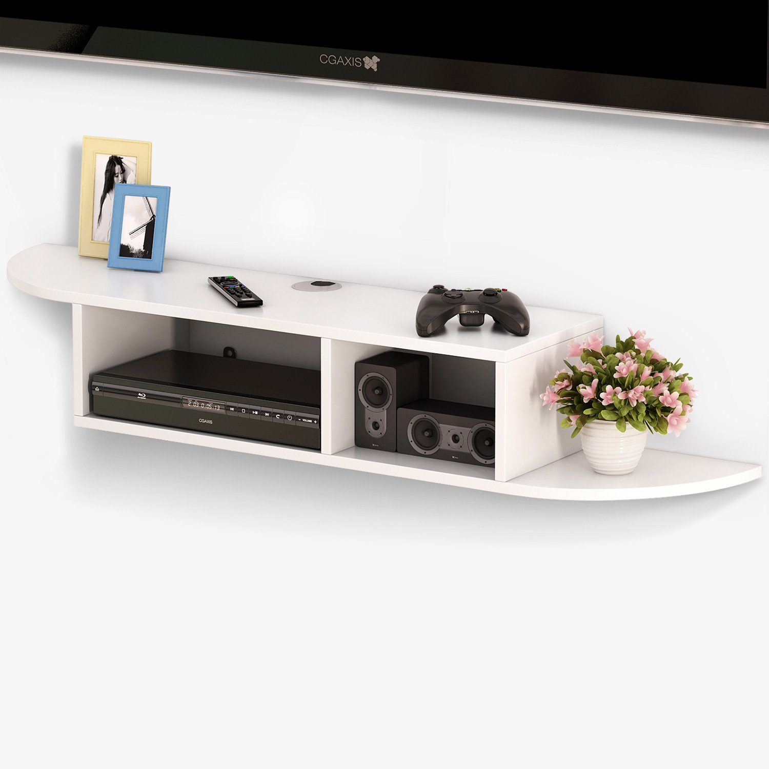 Tribesigns 2 Tier Modern Wall Mount Floating Shelf TV Console 43.3x9.4x7 inch for Cable Boxes/Routers/ Remotes/DVD Players/Game Consoles (White)