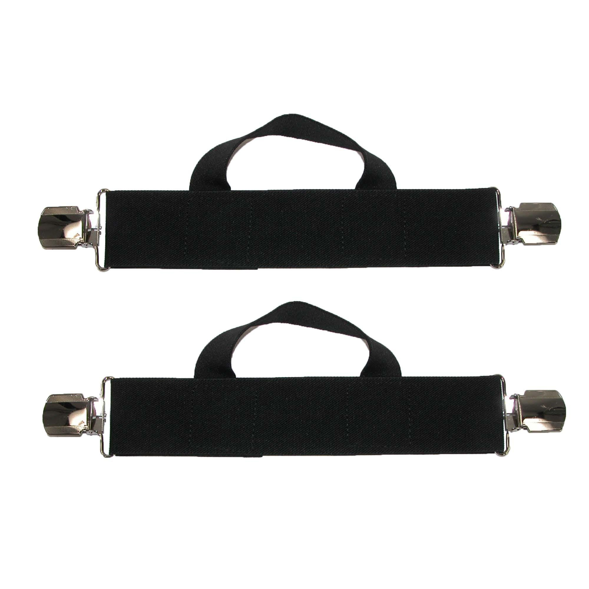 CTM Men's Elastic Anti Slip Pin Clip Biker Stirrup Straps, Black