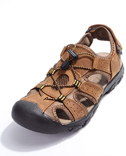 ff2b7b77c107 Motorun Men s Leather Sports Outdoor Walking Sandals Close Toe Summer Trekking  Shoes