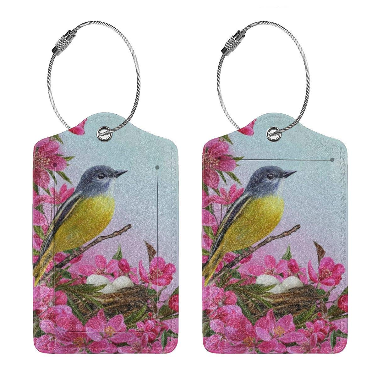 Yellow Bird Near The Nest On Apple Tree Leather Luggage Tags Personalized Flexible Custom Travel Tags With Adjustable Strap