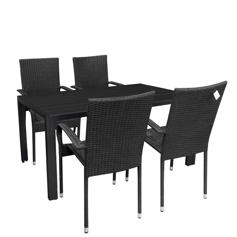 5tlg gartengarnitur sitzgruppe aluminium gartentisch tischplatte polywood 150x90cm stapelbare. Black Bedroom Furniture Sets. Home Design Ideas