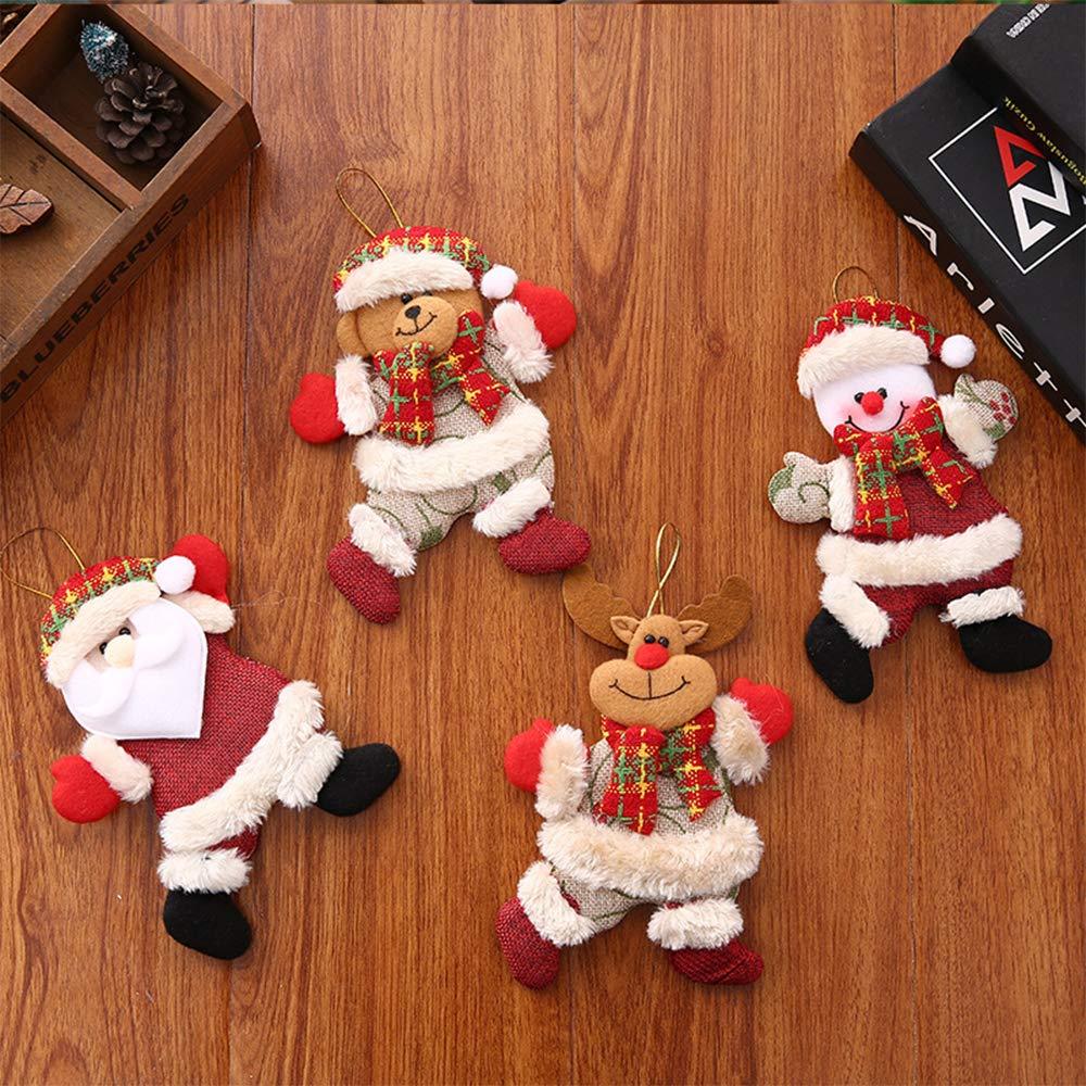 FJROnline 4 Colgantes de mu/ñeca de Pap/á Noel para /árbol de Navidad mu/ñeco de Nieve decoraci/ón para Colgar en la Ventana Oso de Alce con Dibujos Animados