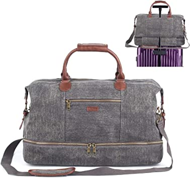 Travel Bag Sports Duffle Canvas Overnight Weekender Bag Unisex Carry-on Bag with Free Shoes Bag