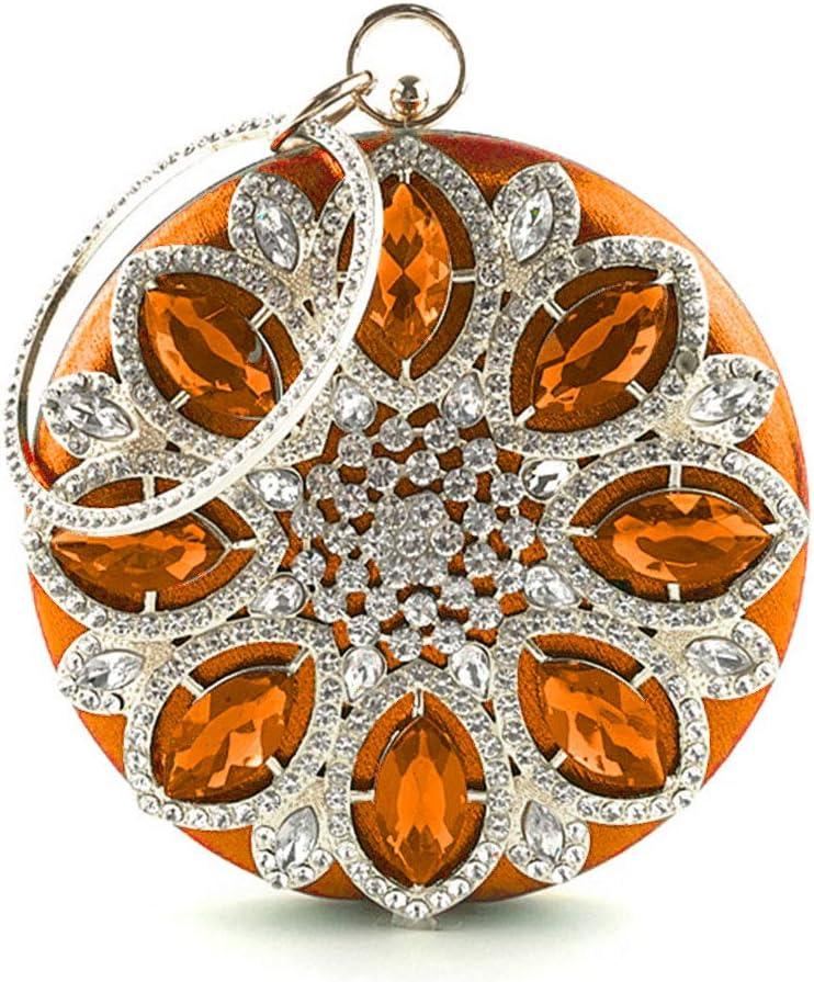 Orange Hijing Women Rhinestone Evening Shoulder Bag Bridal Clutch Party Prom Wedding Handbag Chain Strap