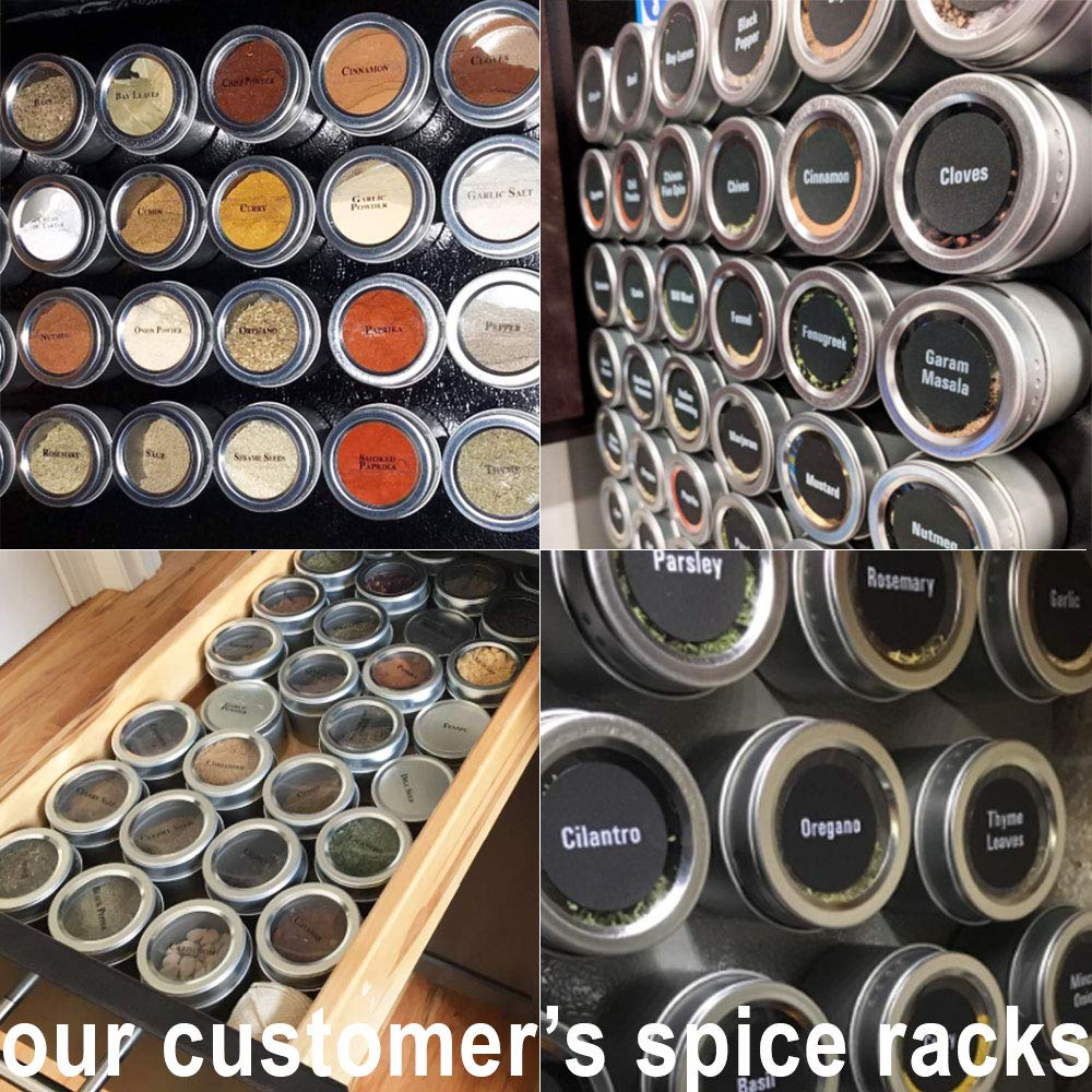 24 Magnetic Spice Tins & 2 Types of Spice Labels, Authentic by Talented Kitchen. 24 Storage Spice Containers, Window Top w/Sift-Pour. 113 Clear & 126 Chalkboard Stickers. Rack Magnetic On Refrigerator by Talented Kitchen (Image #6)