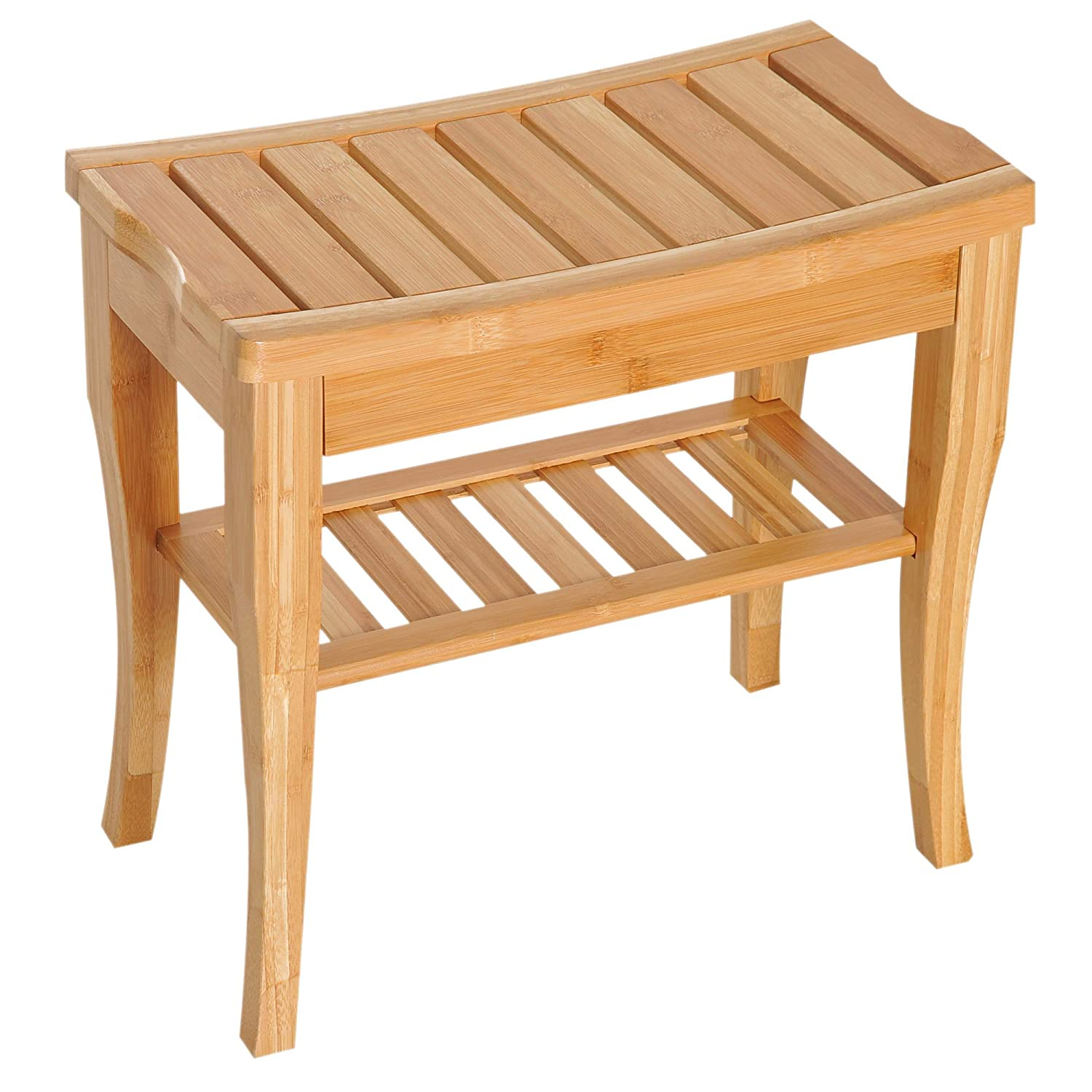 "HomCom 20"" Long Bamboo Wood Shower Bench Seat with Lower Storage Shelf"