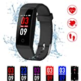 Fitness Tracker,Kirlor New Version Colorful Screen Smart Bracelet with Heart Rate Blood Pressure Monitor,Smart Watch Pedometer Activity Tracker Bluetooth for Android & IOS (Black)