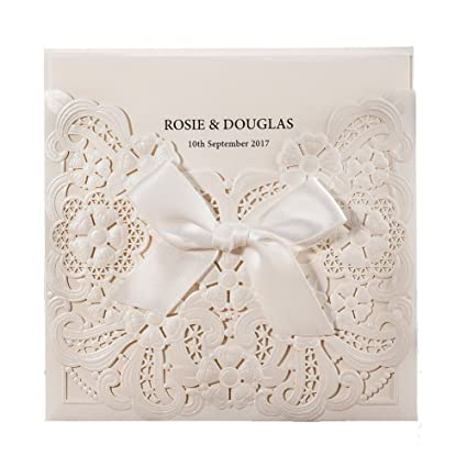amazon com 50x wishmade white laser cut embossed invitations kit