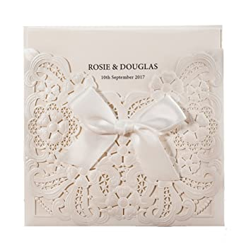 Amazon Com Wishmade 1 Piece White Laser Cut Embossed Wedding