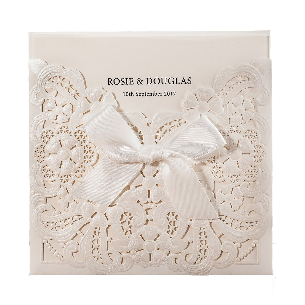 WISHMADE 50 Count White Laser Cut & Embossed Wedding Invitations Kits with Ribbon Design, Birthday