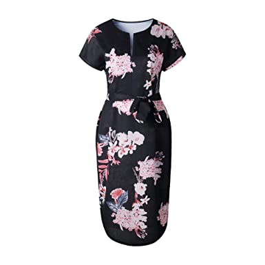 75febbfddb77 Image Unavailable. Image not available for. Color  FashionFly Womens  Dresses Summer Casual V-Neck Floral Print Geometric Pattern Belted Dress