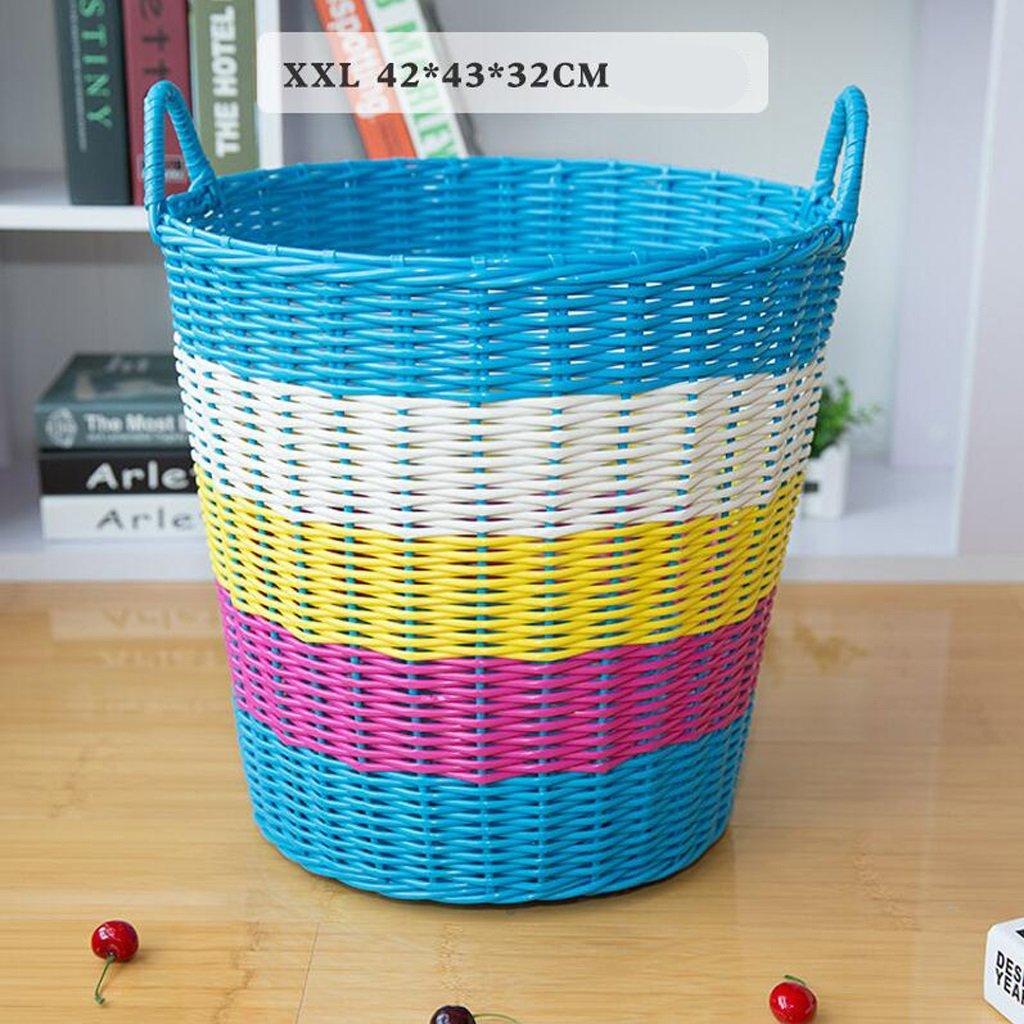 CHENGYI Blaue Plastik Rattan Schmutzige Kleidung Korb Aufbewahrungskorb Wäschekorb Aufbewahrungskorb Weiche und atmungsaktive PVC-Material (größe : XXL)