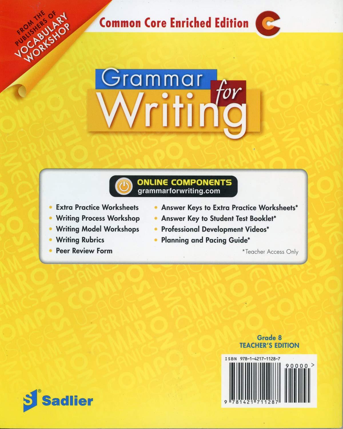 - Grammar For Writing Sadlier Grade 8 Teachers Edition: Beverly Ann