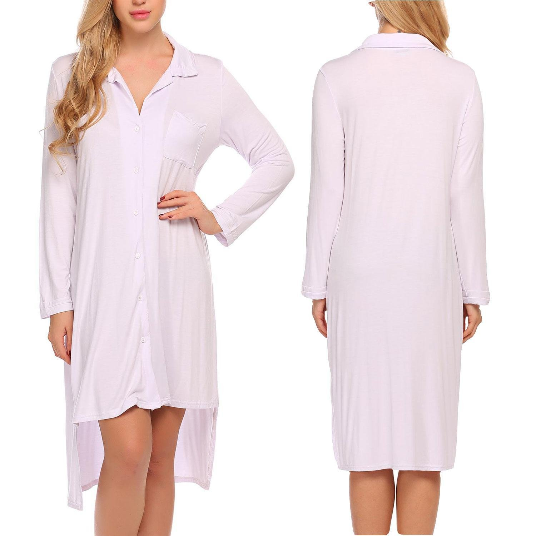 Imposes Womens Long Sleeve Sleepshirts Boyfriend Button Down Lapel