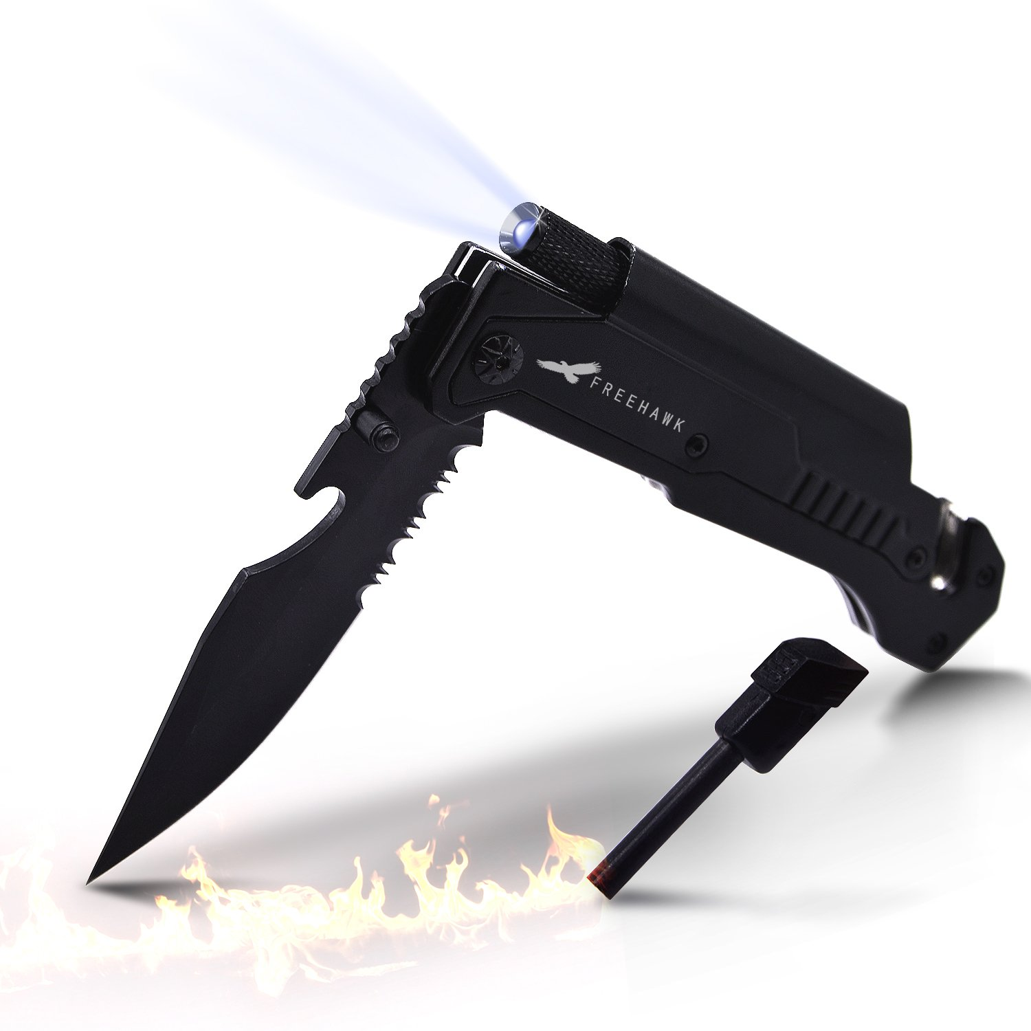 Freehawk Multifunctional Potable Outdoor Knife Survival Tactical Knife Outdoor Folding Knife with Led Light, Flintstone for Outdoor Adventure, Camping, Household