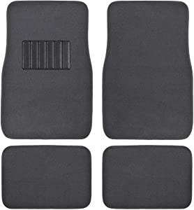 BDK MT-100-CC Classic Carpet Mats for Car SUV Van and Truck-Universal Fit Front and Rear Floor Protection with Heelpad (Gray Charcoal), Black