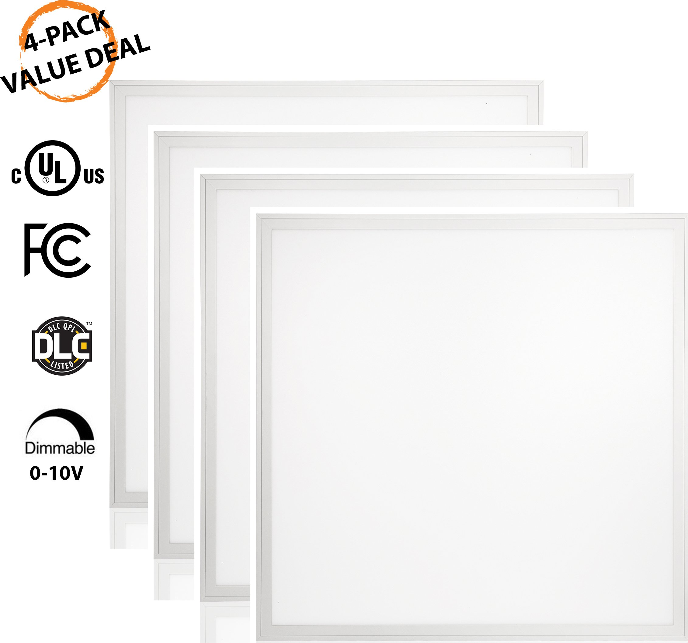 QUEST LED 2x2 (24'' x 24'') 5000k 40W 4-Pack LED Flat Edge-Lit Panel, 4,600 Lumens,120-277V, 0-10V Dimmable, 5 Year Warranty UL/DLC (2x2, 5000k) 4 PACK by QUEST MANUFACTURING