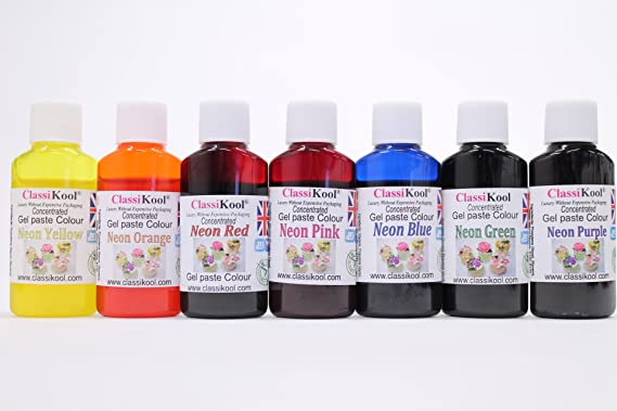 Classikool Concentrated Neon Gel Colours [Pack of 7] Unique 30ml ...