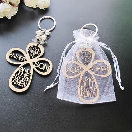 12pcs Recuerdos de boda Recuerdos para bautizoprimera comuni\u00f3n wood keychain ringbaptism favors 12pcs