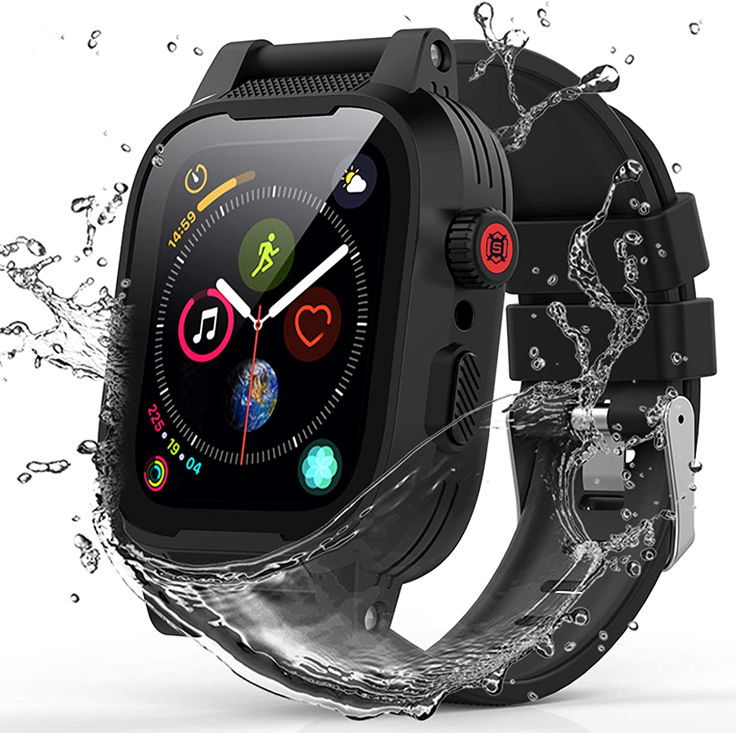 YOGRE Waterproof iWatch Case for Apple Watch Series 6/5/4/SE 44mm, IP68 Waterproof Shockproof Impact Resistant Apple iWatch Full Body Protective Case with Built-in Screen Protector(Add 2 Bands)