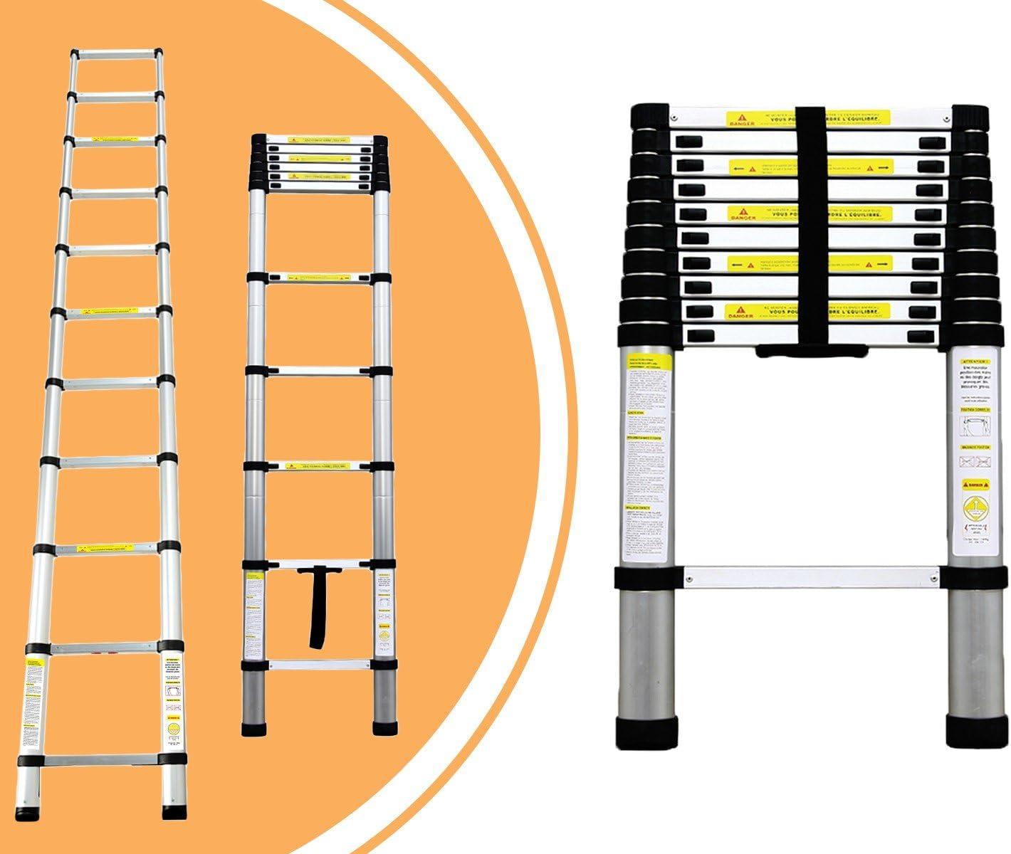 Leogreen - Escalera Telescópica, Escalera Extensible, 3,2 Metro(s), EN 131, Carga máxima: 150 kg, Distancia entre los peldaños (escalera desplegada): 30 cm: Amazon.es: Hogar