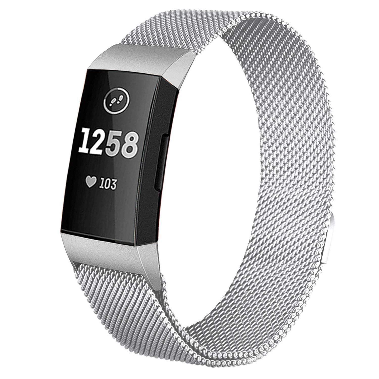 Mornex for Fitbit Versaバンド本革交換リストバンド、フィットネス、調節可能なストラップfor Fitbit Versa、Small Large B07KS5VQPT 04-Silver Large: 7.1'' - 8.7''