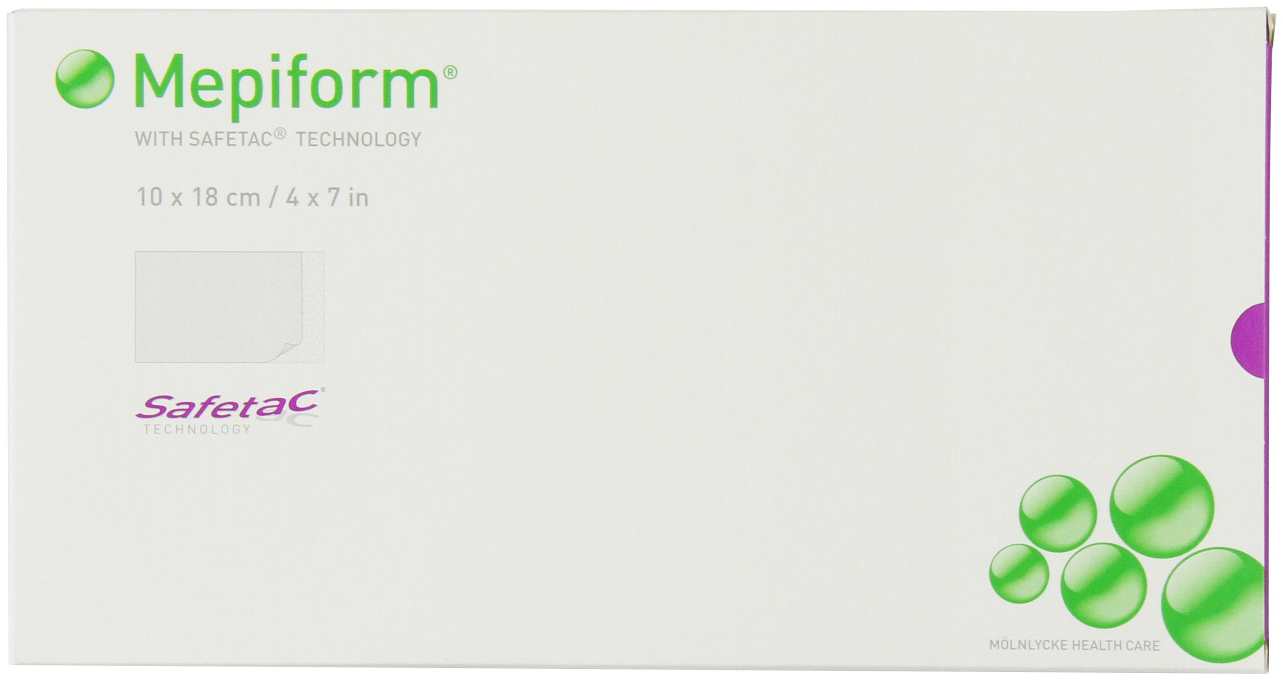 Mepiform with Safetac Technology 4''x7'', 5 Count, Self Adherent Soft Silicone Sheeting for Scar Reduction