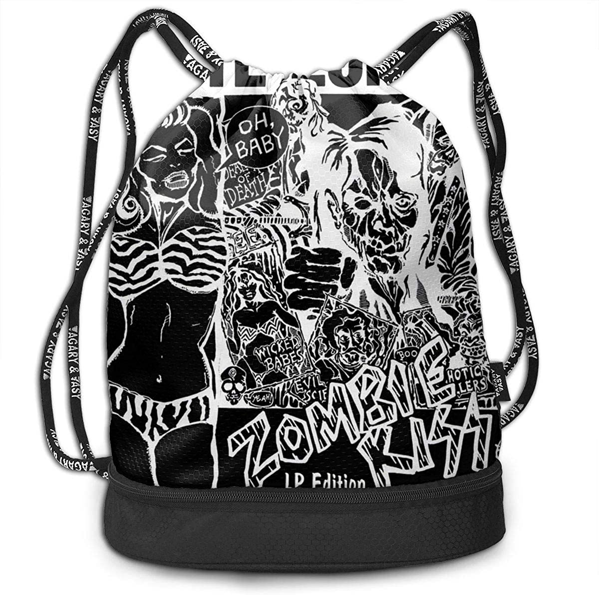 AgoodShop White Zombie Drawstring Backpack Sport Gym Travel Bag