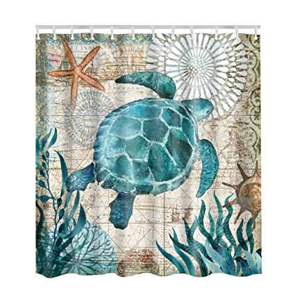 Artown Sea Turtle Shower Curtain Set Vintage Unique Stylish Colorful Picture 3D Digital Printing