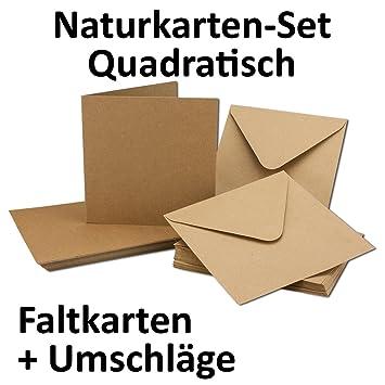 Kraftpapier Karten Inklusive Briefumschläge | 50er Set | Blanko Recycling  Einladungskarten In Braun |
