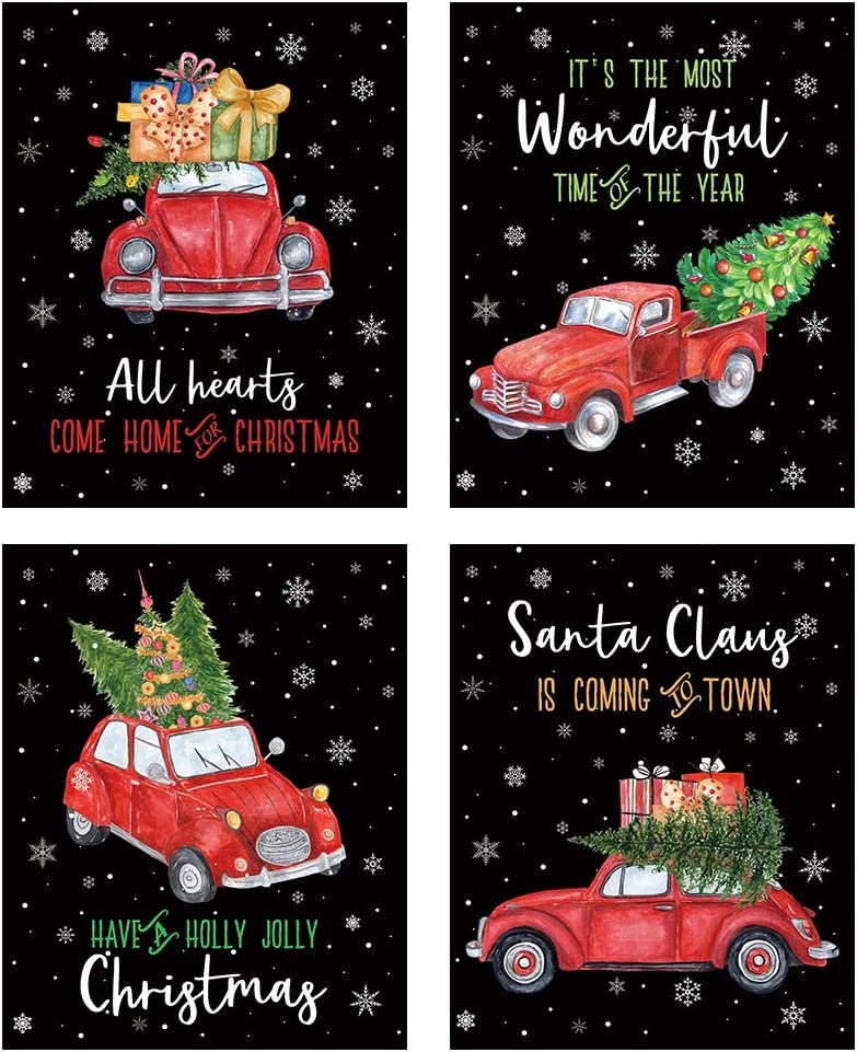 """HLNIUC Christmas Retro Red Truck Art Print,Merry Christmas Song Words Poster,Set of 4(8""""X10"""",Unframed), Xmas Trees Canvas Wall Art Painting for Home Party Holiday Decor"""