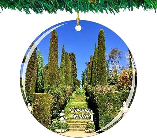 Weekino España Jardines de Santa Clotilde Lloret de Mar Girona Navidad Ornamento Ciudad Viajar Recuerdo Colección Doble Cara Porcelana 2.85 Pulgadas Decoración de árbol Colgante: Amazon.es: Hogar