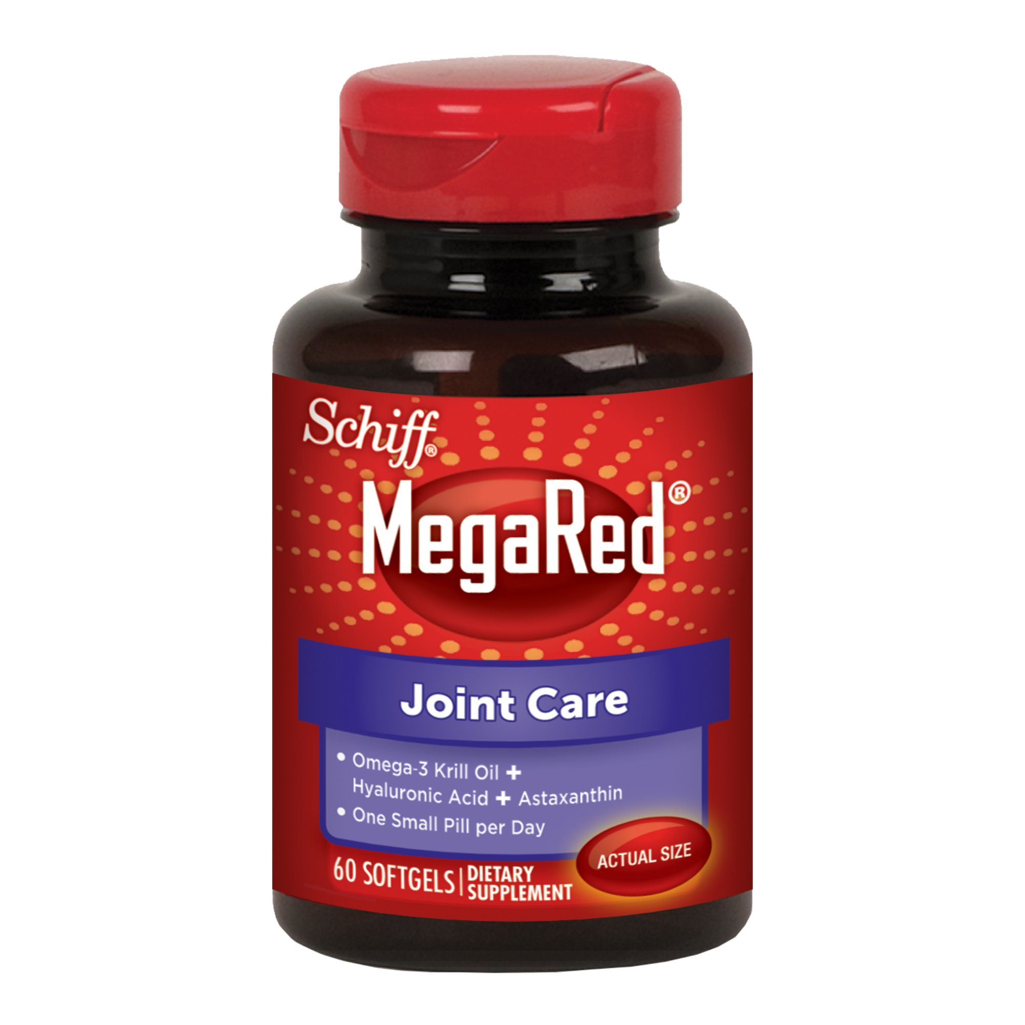 MegaRed Joint Care, 60 softgels -  Omega 3 Krill Oil, Hyaluronic Acid and Astaxanthin Supplement