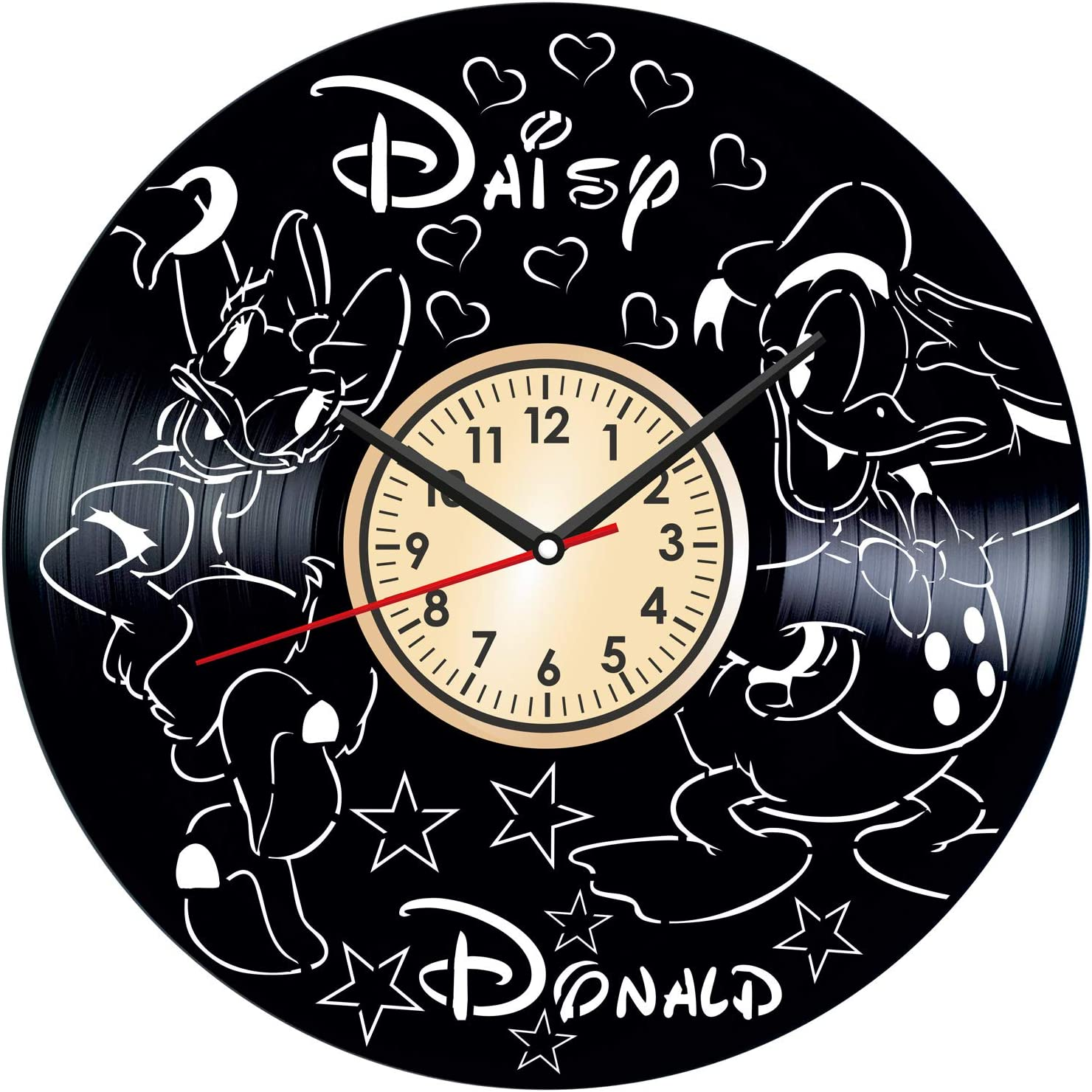 Donald and Daisy Duck Vintage Vinyl Wall Clock - Great Home Decor for Bedroom Kitchen Living Room Idea Birthday Christmas Anniversary for Him Her - Unique Wall Art - Size 12 Inches
