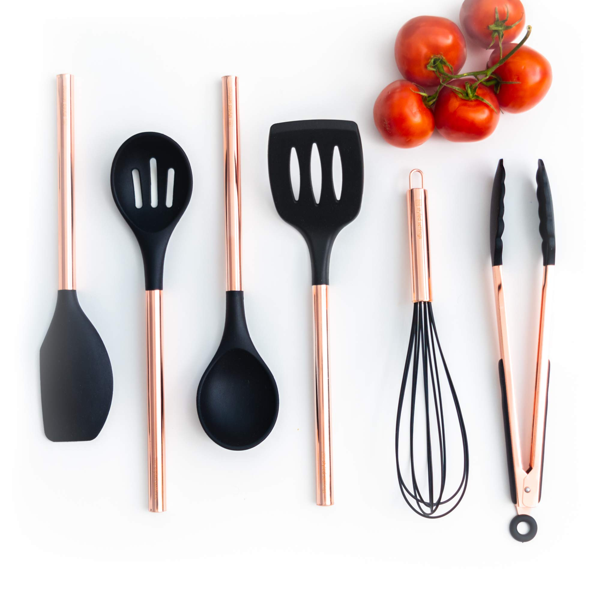 Black Silicone and Copper Cooking Utensils for Modern Cooking and Serving, Stainless Steel Copper Serving Utensils Ideal Spatulas for Non Stick Cookware by STYLED SETTINGS