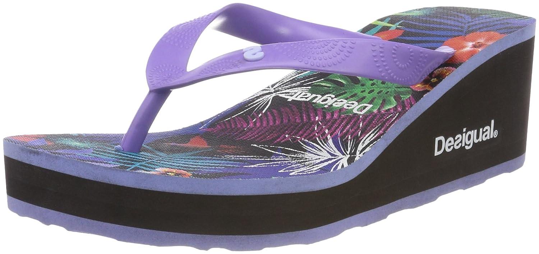 Desigual Damen Shoes_Lola Tropical Zehentrenner, Schwarz (2000 Negro), 40 EU