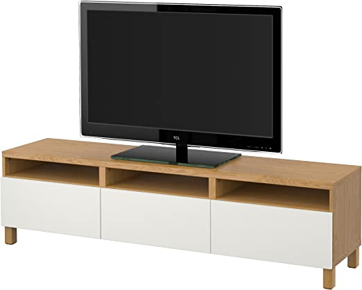 Ikea Besta Banc Tv Avec Effet Tiroirs Chene Lappviken