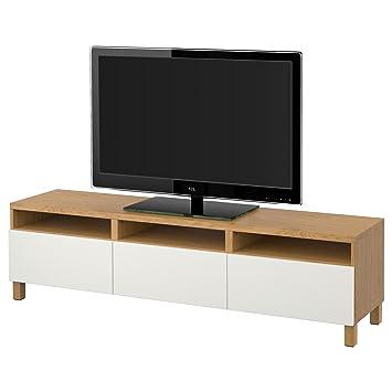 Ikea Besta Banc Tv Avec Effet Tiroirs Chêne Lappviken Blanc