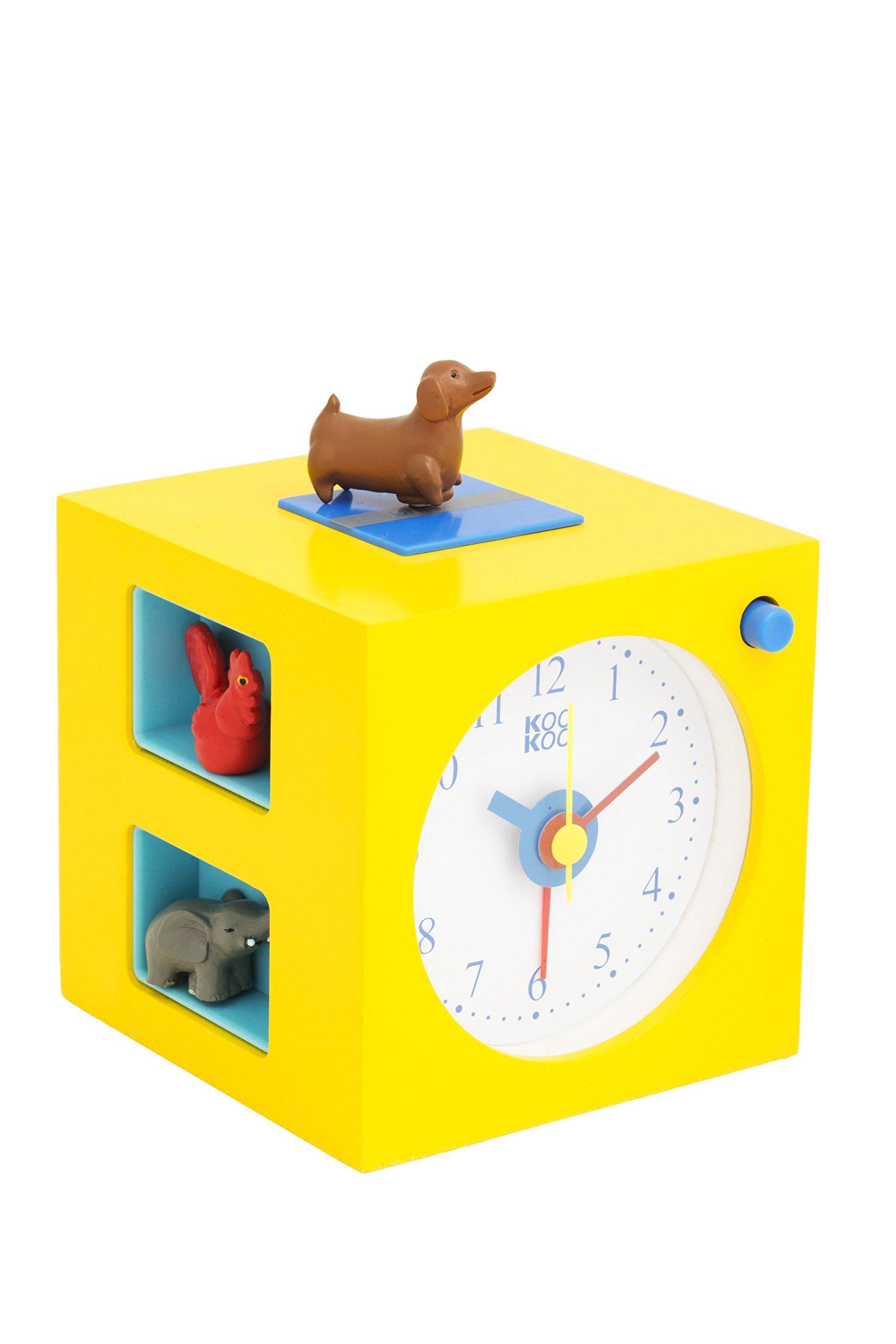 KOOKOO KidsAlarm yellow alarm clock for children including 5 magnetic animals and 5 animal calls field recording wood clock