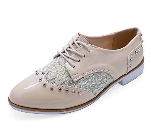 Heelzsohigh Ladies Nude Patent Lace Up Flat Lace Brogues Smart