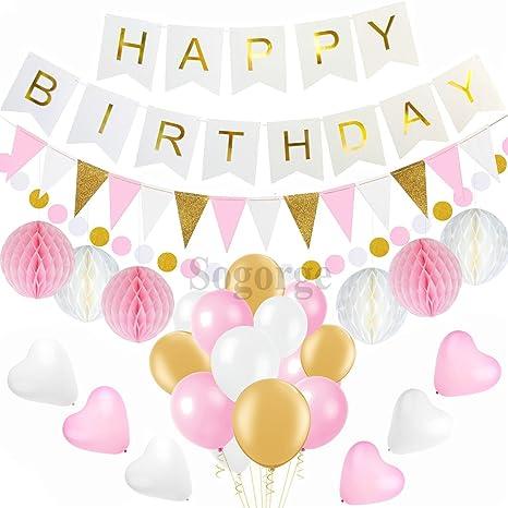Color rosa y oro cumpleaños decoraciones, pompones flores ...