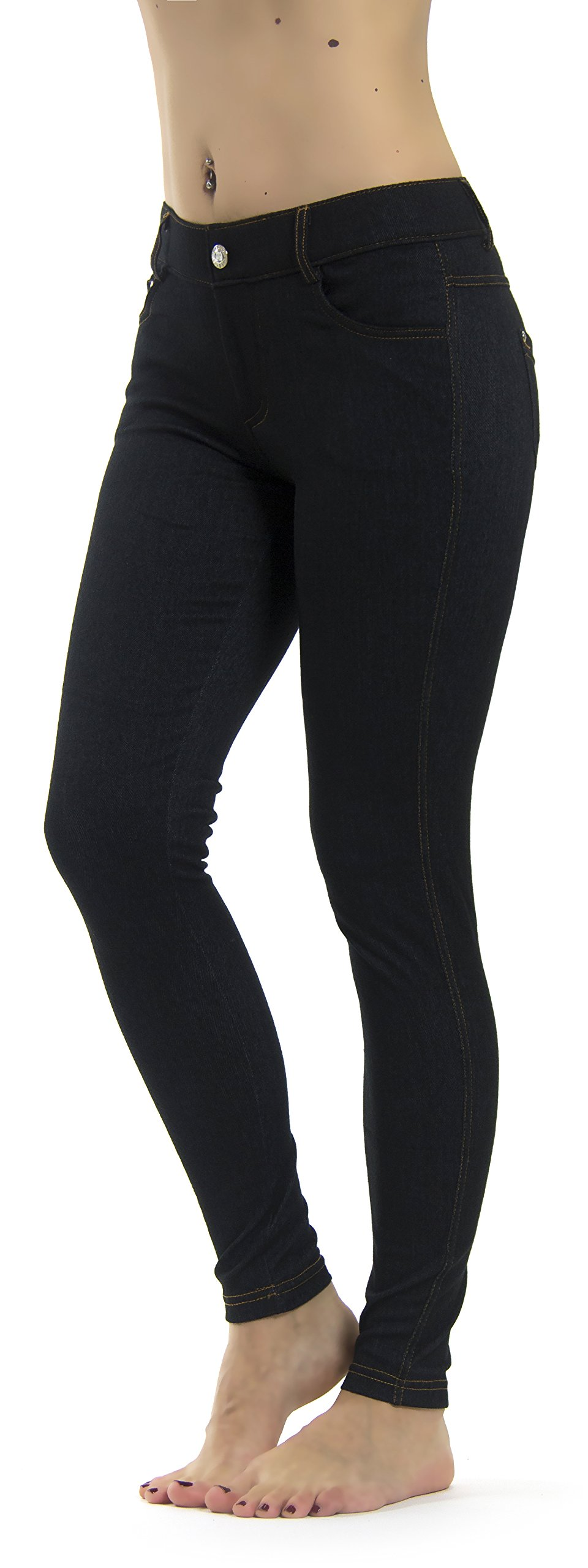 Prolific Health Women's Jean Look Jeggings Tights Slimming Many Colors Spandex Leggings Pants S-XXXL (Large/X-Large, Black Denim) by Prolific Health (Image #3)
