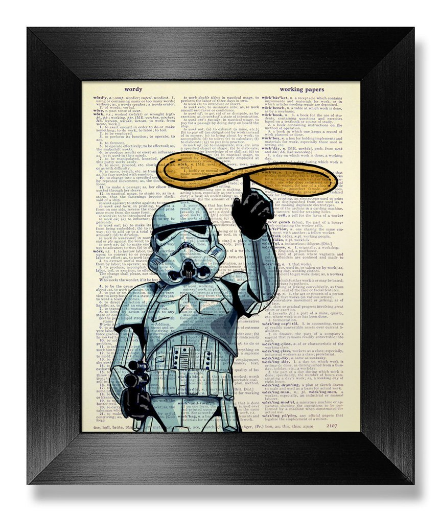 Star Wars Gift for Man Poster, Stormtrooper Spinning Pizza, Kitchen Wall Art Print, Food Diner Wall Decor, Funny Kitchen Gift for Woman, Unique Movie Poster, Dictionary Art Print