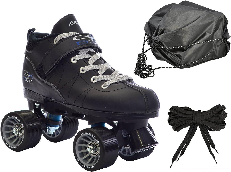 ブラックmach-5 gtx500 QuadスピードRoller Skates w / 2ペアの靴紐(グレー&ブラック) +巾着バッグ。  Mens 6