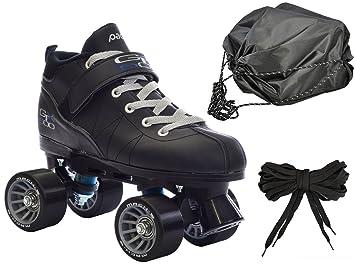 Negro Mach-5 GTX500 patines de cuatro ruedas velocidad w/2 par de cordones (gris y negro) + bolsa.: Amazon.es: Jardín