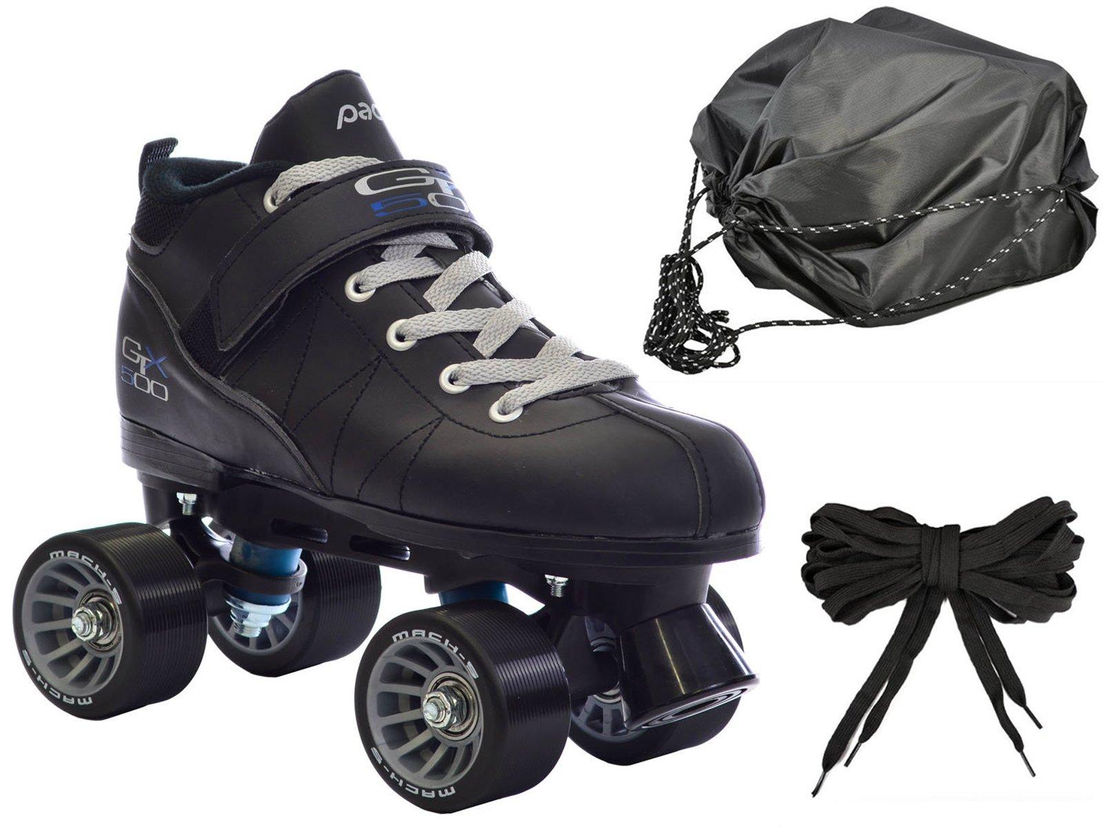 Black Mach-5 GTX500 Quad Speed Roller Skates w/ 2 Pair of Laces (Gray & Black) + Drawstring Bag! (Mens 10)