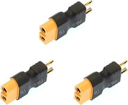 Deans Style - Female EC3 Adapter Apex RC Products No Wire Male Ultra T Plug 3 Pack #1251