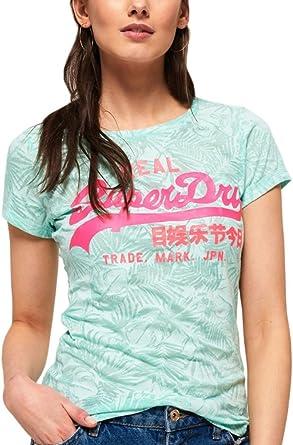 TALLA Medium (Talla del fabricante: 12). Superdry Vtgelogoaopbrnoutentrytee Camiseta para Mujer