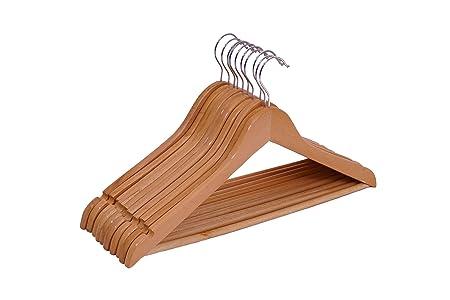 Spetebo Holz Kleiderbugel 10er Pack Mit Hosenstange Und Drehbar